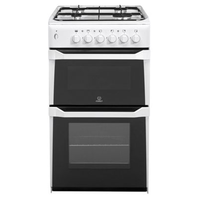 Indesit Gas Cooker with Gas Grill and Gas Hob, IT50G(W) - White