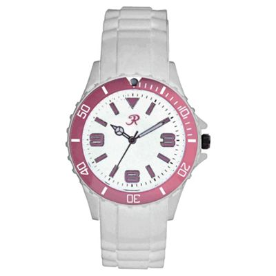 Ladies White and Pink Silicon Strap Watch