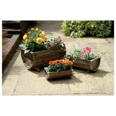 3 Wooden Trough Planters