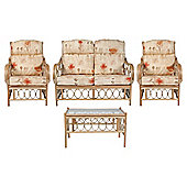 Morley 4 Piece Set Sofa, 2 Chairs & Coffee Table & Monet Cushions