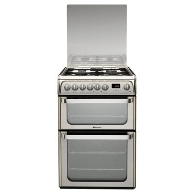 Hotpoint hud61x stainless steel dual fuel Double oven cooker