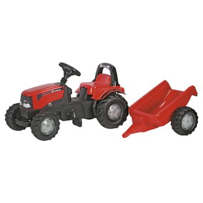 Rolly Kid Case Tractor with Roll Bar & Trailer