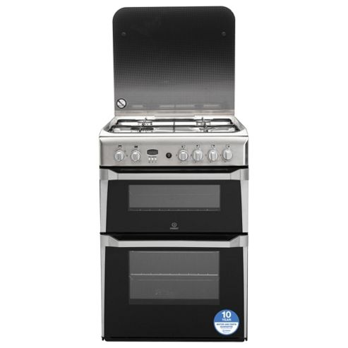 Indesit Gas Cooker with Gas Grill and Gas Hob, ID60G2(X) - Stainless steel