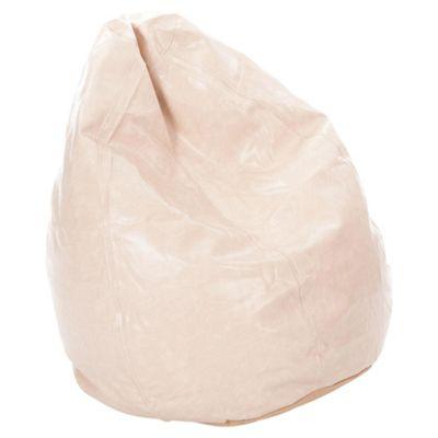 Kaikoo Faux Leather Teardrop Bean Bag, Cream