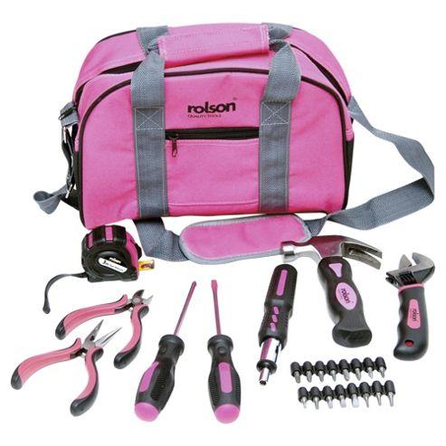 Rolson 25 Piece Pink Tool Bag Set