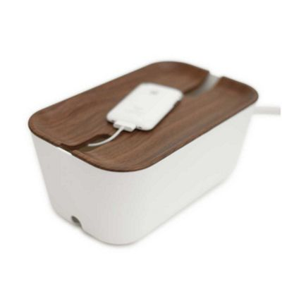 Bosign Hideaway White Cable Management Box Medium Size with Dark Wood Look Lid 30x18x13.8cm