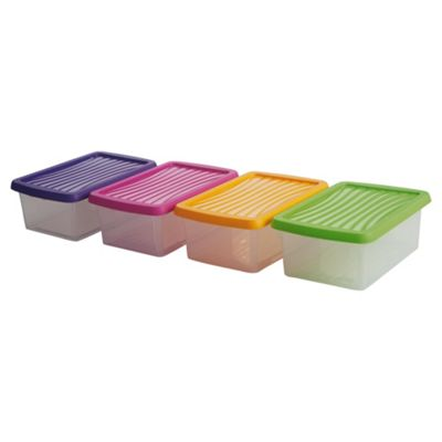 Wham 3.5L Plastic Stackable Storage Box, Pack of 4