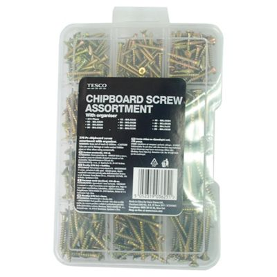 Tesco 370 Pc Chipboard Screw Assortment with Organiser