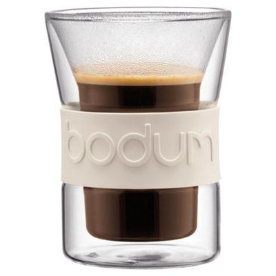 Bodum Presso Set of 2 0.2L Double Walled Glasses, White