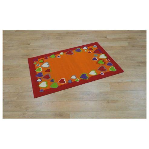 Tesco Kids Coloured Hearts Rug Red / Orange 115x160cm
