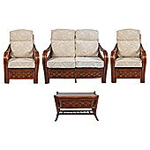 Santiago 4 Piece Set Sofa 2 Chairs & Coffee Table & Figaro Cushions