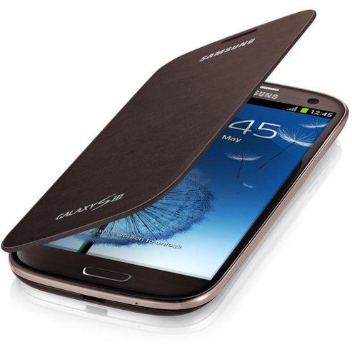 Samsung Original Notebook Style Flip Case Galaxy S3 - Amber Brown