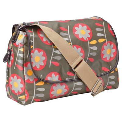 OiOi Messenger Retro Circular Floral Olive Green Changing bag