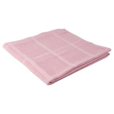 Tesco Cellular Blanket Moses/Pram 2 pack, Pink