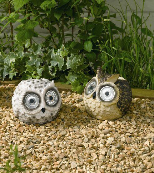 Owl Solar Lights 2pk Snowy and long-eared Owls