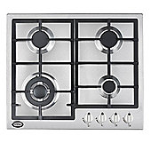 Bautechnic AICA6042 Gas Hob | 60cm Stainless Steel, Cast-Iron Pan Supports