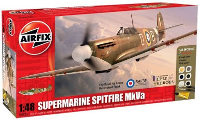 Airfix A50030 Help For Heroes Supermarine Spitfire Mkva 1:48 Scale Aircraft Gift Set