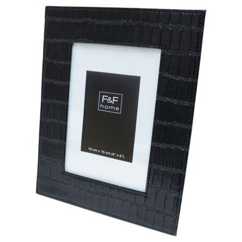 F&F Home Black croc leather 4x6