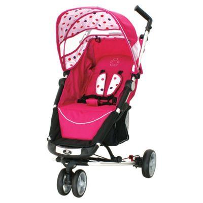 Petite Star Zia X 3 Wheeler Stroller Compact Fold, Pink Fizz Spot