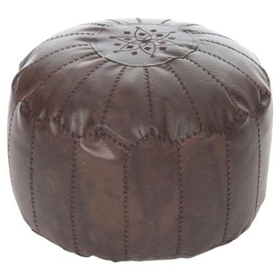 Kaikoo Moroccan Faux Leather Pouffe With Embroidery, Brown