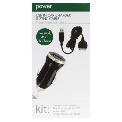 Kitpower in-car charger for Apple iPad 3/iPad 2/iPhone - Black