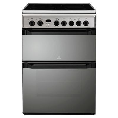 Indesit ID60C2X Stainiess Steel Ceramic Double Oven Electric Cooker