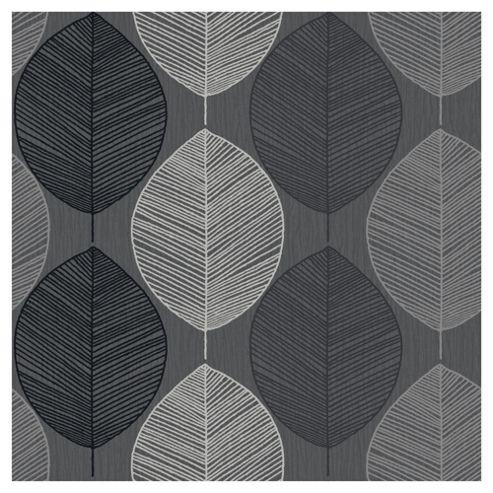 Arthouse Retro Leaf Black Wallpaper