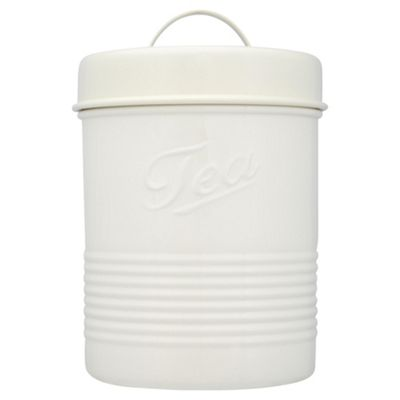Tesco Enamel Tea Canister with Cream Lid, Cream