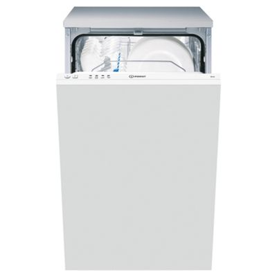 Indesit DIS04 Built In, Integrated Slimline Dishwasher, A Energy Rating, White