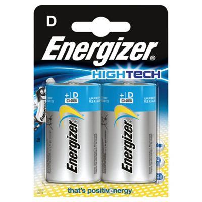 Energizer Hightech 2 Pack Alkaline D Batteries
