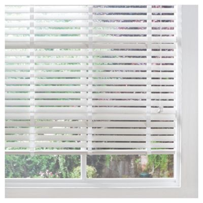 Wood Venetian Blind W150cm, Slats 50mm, Pure White