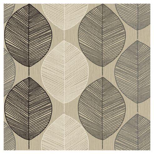 Arthouse Retro Leaf Taupe Wallpaper