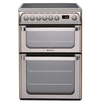 Hotpoint Hue61X Stainless Steel Ceramic Double Oven Electric Cooker