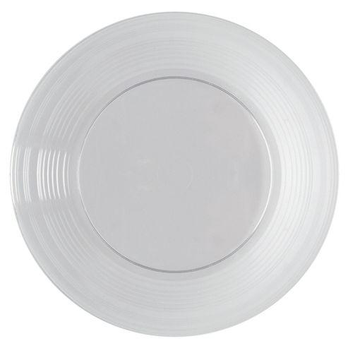 Tesco Set of 6 Plastic Plates, Clear