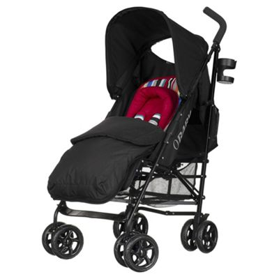 Obaby Atlas Lite Stroller with Footmuff-Red Stripe