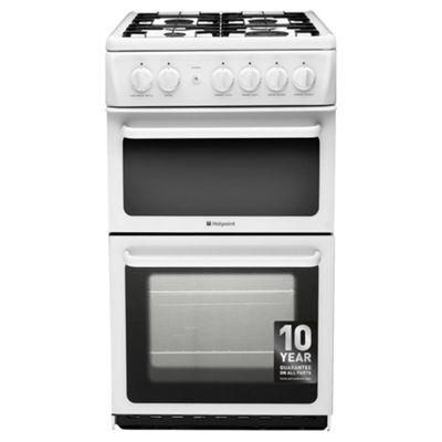 Hotpoint Newstyle Gas Cooker with Gas Grill and Gas Hob, HAG51P - White