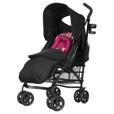 Obaby Atlas Lite Stroller with Footmuff-Pink Stripe
