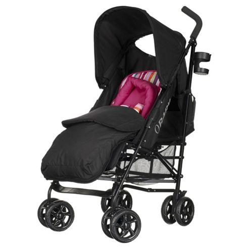 Obaby Atlas Lite Stroller with Footmuff-Pink Stripe