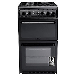 Hotpoint Newstyle Gas Cooker with Gas Grill and Gas Hob, HAG51K - Black