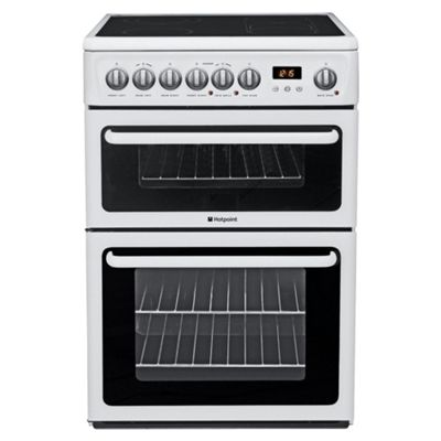 Hotpoint Hae60P White Ceramic Double Oven Electric Cooker
