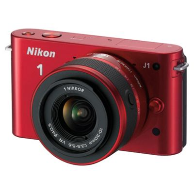 Nikon 1 J1 Compact System Camera - Red (10-30mm Lens Kit) 3 inch LCD Screen
