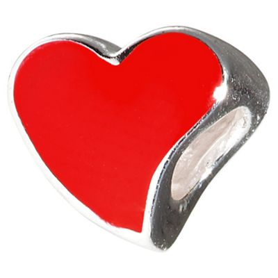 Sterling Silver and Enamel Red Heart Bead