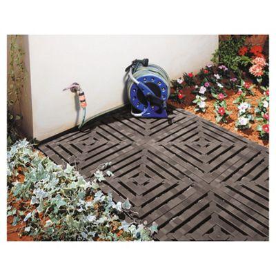 Keter Step On Plastic Floor Tiles, 4 Pack, Black
