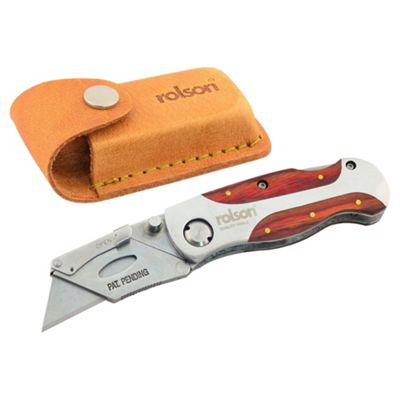 Rolson Folding Lock Back Knife and Leather Pouch