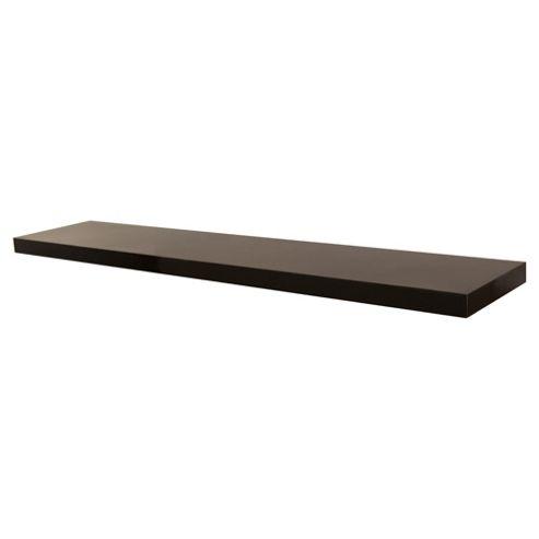 High Gloss Black Floating Shelf 120cm