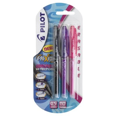 Pilot Black, Pink and Violet Frixion Pens, 3 Pack