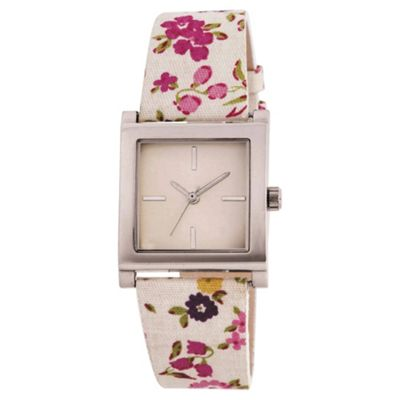 White Floral Strap Watch Ladies