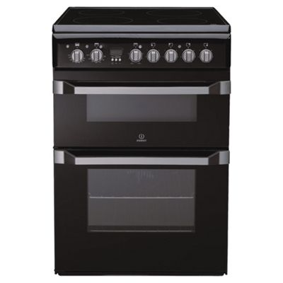 Indesit ID60C2K Black Ceramic Double Oven Electric Cooker