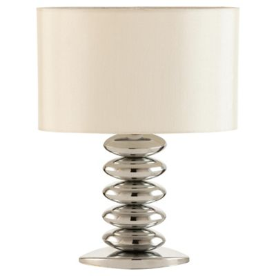 Tesco Lighting Pebble Stacked Table Lamp Chrome & Cream