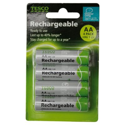 Tesco 4 Pack Rechargeable AA batteries